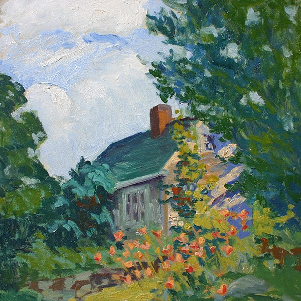 Paul E. Saling ,   House and Garden in Summer      oil on board ,  14