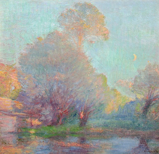 Robert William Vonnoh ,   Early Evening Light      oil on canvas ,  30