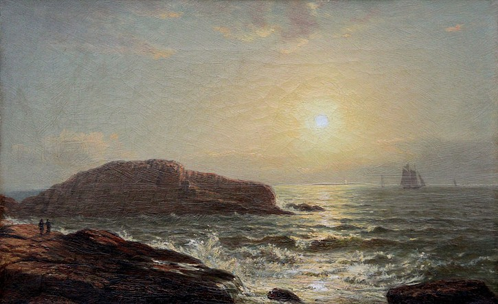 William Ruthven Wheeler ,   New England Seascape      oil on canvas ,  9 3/8