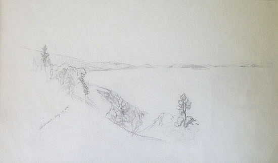 Aaron Draper Shattuck ,   Mt. Desert      pencil on paper ,  10 1/2