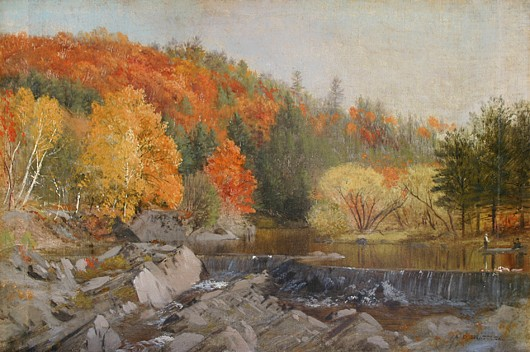Aaron Draper Shattuck ,   Autumn Colors at the Falls      oil on canvas laid down on board ,  11 3/8