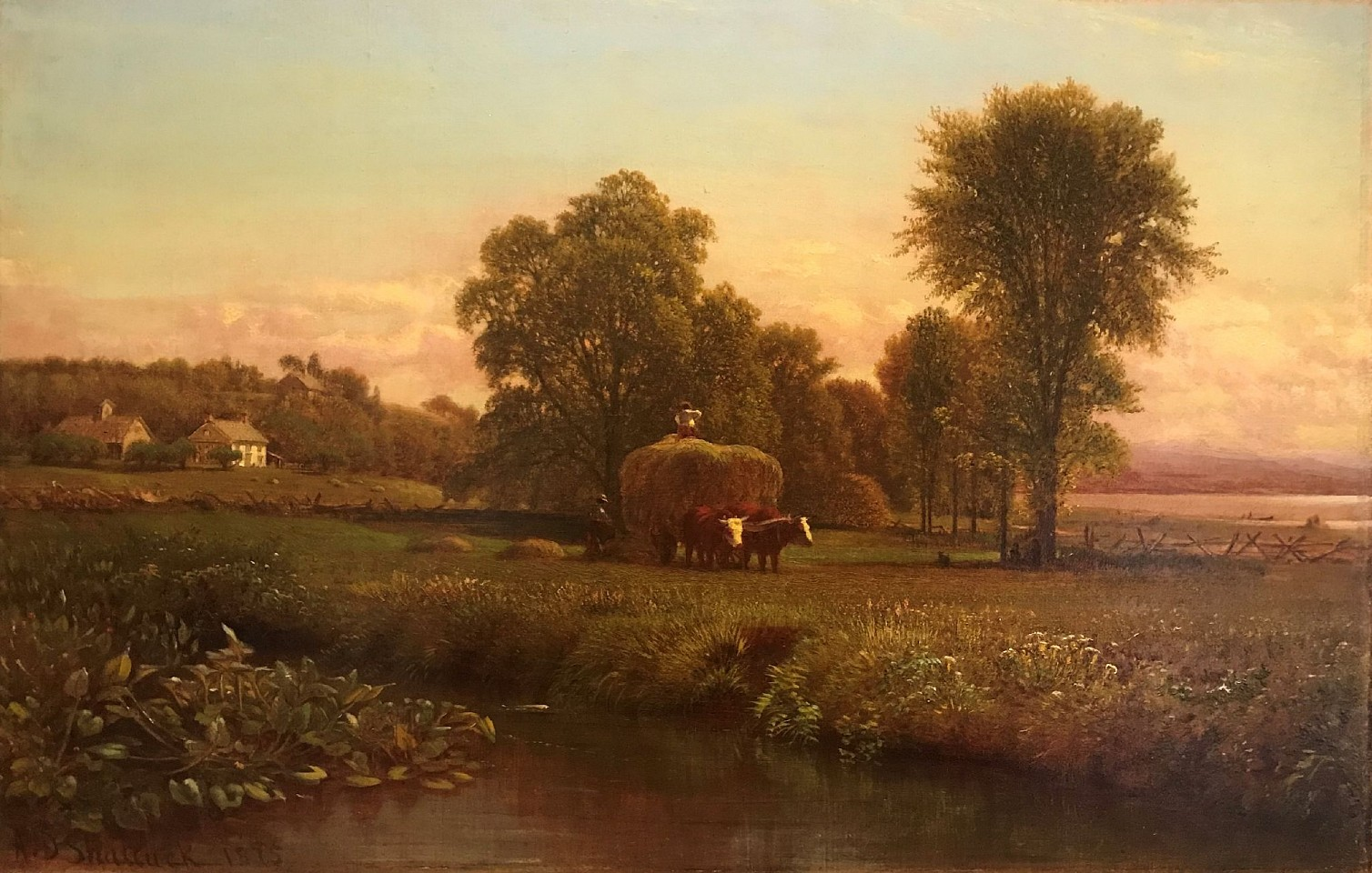 Aaron Draper Shattuck ,   First Cutting, Farmington Valley      oil on canvas laid on board ,  14
