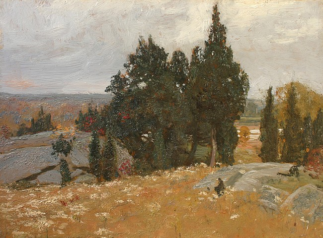 Allen Butler Talcott ,   Cedar Grove      oil on panel ,  12