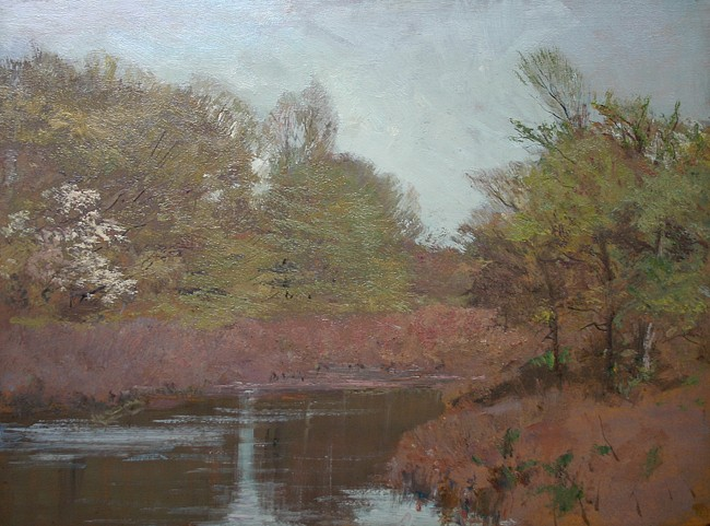 Allen Butler Talcott ,   At the Pond, Springtime      oil on panel ,  12