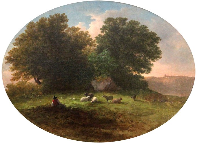 George Inness ,   A Shepherd and His Flock      oil on canvas ,  16
