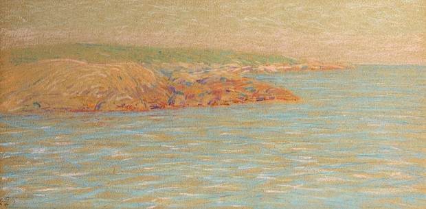 Henry Cooke White ,   Along the Coast      pastel on paper ,  11 1/4