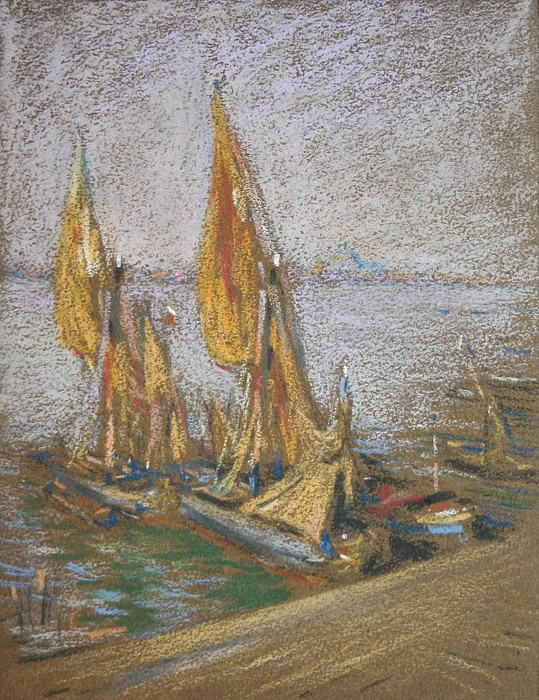 Henry Cooke White ,   Drying Sails      pastel on paper ,  7