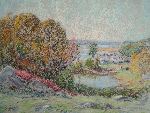 Henry Cooke White ,   Early Autumn, Hamburg Cove      pastel on paper ,  8 7/8