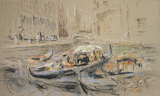 Henry Cooke White ,   In the Canal      pastel on paper ,  5