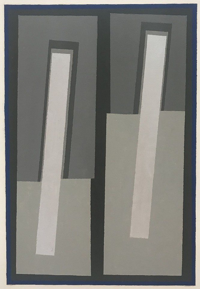 Sewell Sillman ,   Study  ,  1967     gouache and silver leaf on paper ,  13 1/2