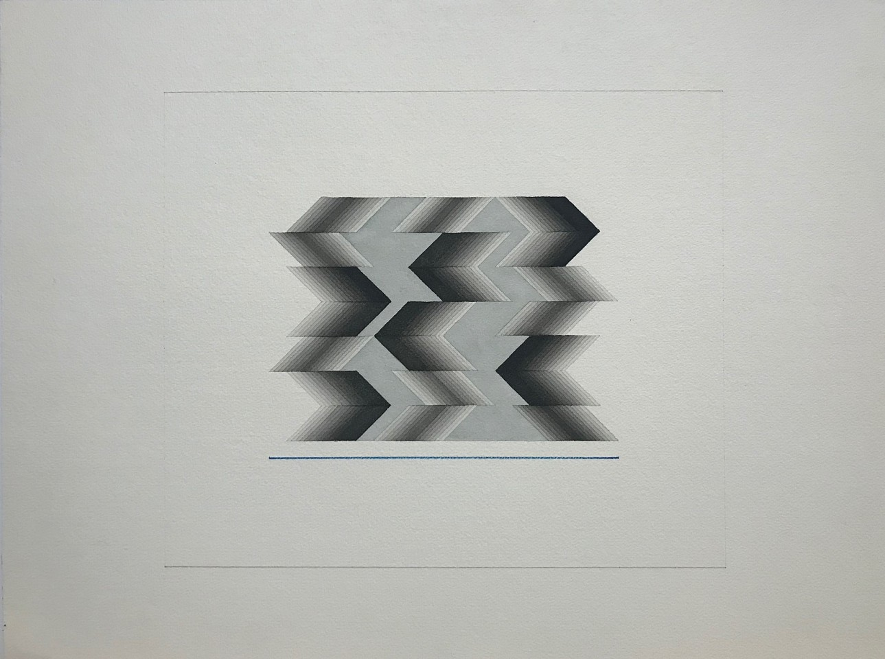 Sewell Sillman ,   Untitled ( Black and Grey with Blue Lines)      watercolor and pencil on paper ,  Sheet: 18