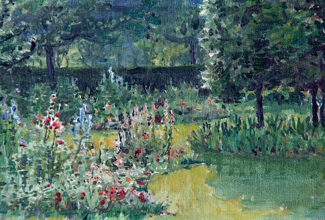 Anna Mary Richards Brewster ,   In the Garden      oil on canvas laid down on masonite ,  6