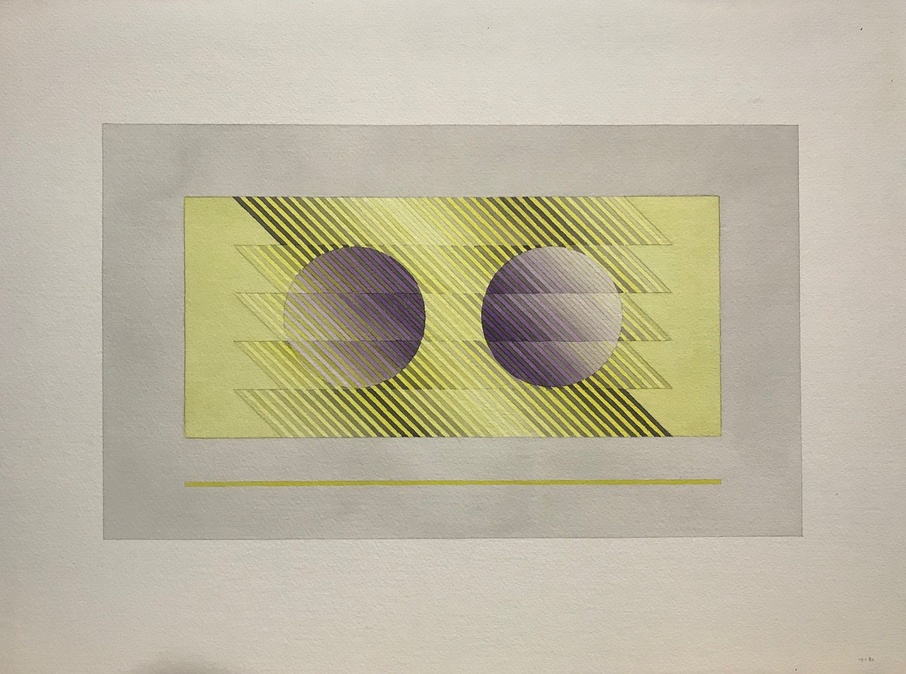Sewell Sillman ,   Untitled (Purple Orbs on Yellow and Grey)      watercolor and pencil on paper ,  Sheet: 18